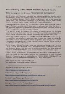 Pressemitteilung Distanzierung von FRIDAYS GEGEN ALTERSARMUT