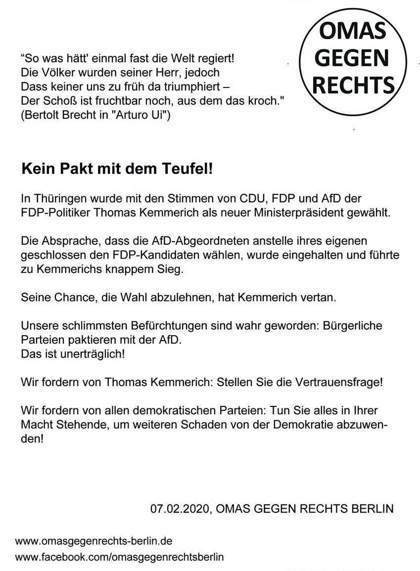 Flugblatt der OMAS GEGEN RECHTS BERLIN